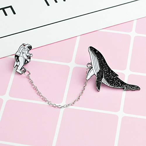 Obeysas - Weihnachten Cartoon-Tier Wale kosmischer Raum Astronaut Brosche Schwarze Emaille-Pin-Knopf-Kette Denim Jacke Mantel Pins Abzeichen Schmuck ()