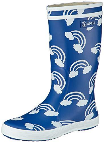 Aigle Lolly POP Print Boots Enfant Blue/Multicoloured Wellington Boots