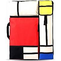 Multifunción bolsas de bocetos, A2/4K tablero de dibujo bolsa impermeable portátil arte mochila Splice rejilla patrón,Mochila/cartera para portafolio de artista (Red roja)