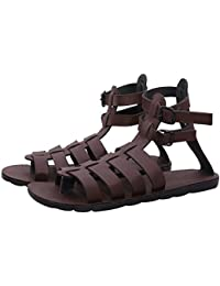 Butchi Classic Brown Color Multi-Strape Long Sandal For Men