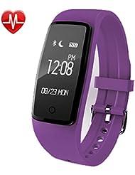 AsiaLONG Fitness Armbänder mit Pulsmesser - Wasserdicht Fitness Aktivitätstracker Schrittzähler Uhr Armband mit Herzfrequenz, Schlafanalyse, Kalorienzähler, SNS Wecker Vibration für Android und IOS