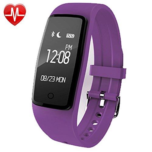 YAMAY® Fitness Tracker mit Pulsuhr Bluetooth Fitness Armband Aktivitätstracker Schrittzähler Uhr mit Herzfrequenzmesser Pulsmesser Schrittzähler Kalorienzähler Schlaftracker Vibrationswecker Anruf SMS SNS Vibration für Android iOS (Aktualisierung)