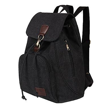 Fletion Retro Canvas Backpack, Vintage Designer Rucksack Travel Casual Shoulder Bag Handbag College Daypack Satchel…