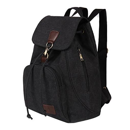 Fletion Retro Canvas Backpack, Vintage Designer Rucksack Travel Casual Shoulder Bag Handbag College Daypack Satchel Computer Laptop Bags, Ideal for Sports, Gym, Hiking, Travelling, Camping