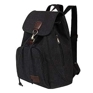 Fashion Casual Vintage Backpack, Fletion Portable Women Backpacks Shoulder Bags Handbags Student Schoolbag School Satchel Book Bag Drawstring Bagpack with Adjustable Shoulder Strap Black