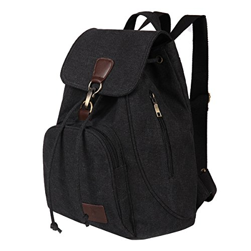Fashion Casual Vintage Backpack, Fletion Portable Women Backpacks Shoulder Bags Handbags Student Schoolbag School Satchel Book Bag Drawstring Bagpack with Adjustable Shoulder Strap Black