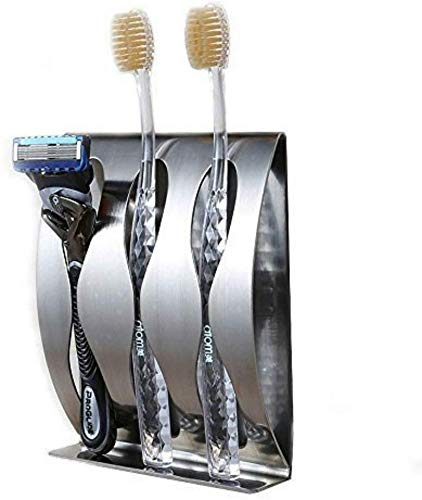 flintronic Zahnbürstenhalter Selbstklebende, Wand Befestigter Edelstahl Bad Zahnbürstenhalter Wandmontage Durable Halter Paste Für Bad Küche, Ohne Bohren (3 Löcher)