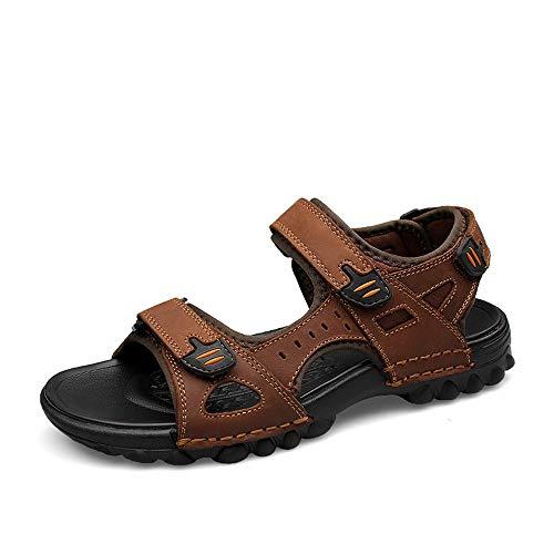 HILOTU - Herren-Sandalen Open-Toe Athletic Wandern Sandale Sommer Strand Wasser Schuhe Wasserdichte Outdoor Walking Sandale (Color : Braun, Größe : 47 EU) Athletic-open-toe-sandalen