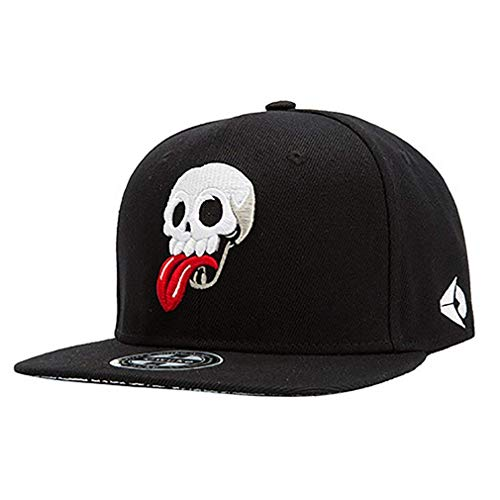 Mützen Schirmmütze Unisex Herren Damen Canvas Hip Perfect Pop Basecap Hut Totenkopf Schwarz Mode Baseball Cap Caps Style (Color : Black 1, Size : 21.26'-23.62')