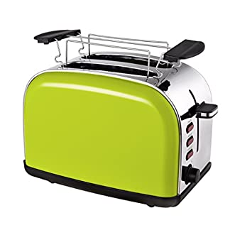 Team-Kalorik-2-Scheiben-Toaster-Retro-Design-Separater-Brtchenaufsatz-Integrierte-Krmelschublade-1050-W-Apfelgrn-TKG-TO-1045-AG