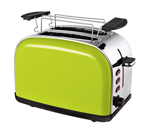 Team Kalorik 2-Scheiben-Toaster, Retro-Design, Separater Brötchenaufsatz, Integrierte Krümelschublade, 1050 W, Apfelgrün, TKG TO 1045 AG -