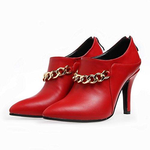 AgooLar Femme Stylet Matière Mélangee Couleur Unie Zip Pointu Chaussures Légeres Rouge