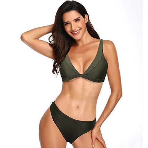 YYBSFZD Bañador De Dos Piezas para Mujer Verde Militar Dividido Bikini Sexy con Escote En V Europa...
