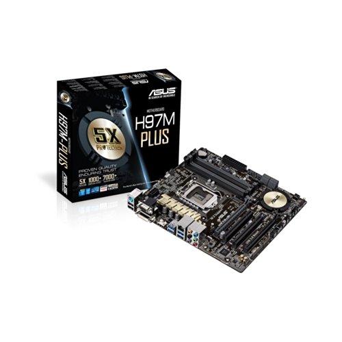 Asus H97M-PLUS Mainboard Sockel 1150 (micro ATX, Intel H97, 4x DDR3-Ram, 6x SATA, PCIe 3.0 x16)