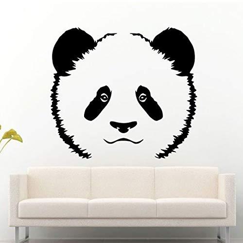 Tier Bär Asiatischer Panda Gesicht Aufkleber Wandaufkleber Kindergarten Kinderzimmer Art Deco Home Vinyl Wandtattoo Home Wandbild 63x57cm