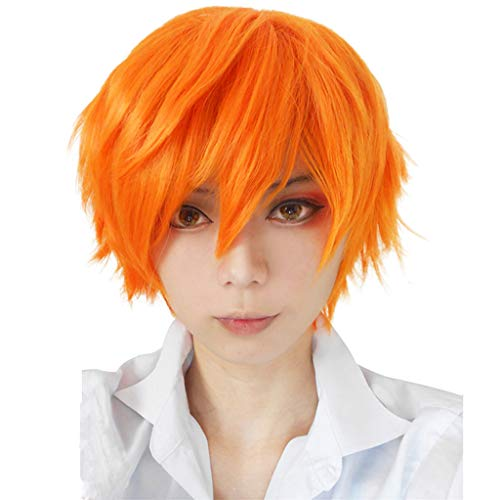 ange curly Waselia, (12inch/ 30cm )Billige Perücken MäNner, Perücke Haar Wig männer herren Glatt Orange Kurz für Karneval Fasching Cosplay Party Kostüm ()