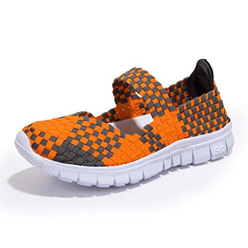 LILIHOT Frauen gewebt atmungsaktiv Gummiband EIN Pedal Turnschuhe Freizeitschuhe Laufschuhe der Frauen Student Jogging-Schuhe fliegen gewebte Schuhe Kissen Turnschuhe Fitness-Schuhe -