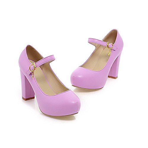 AllhqFashion Femme Rond Boucle Couleur Unie à Talon Haut Chaussures Légeres Violet