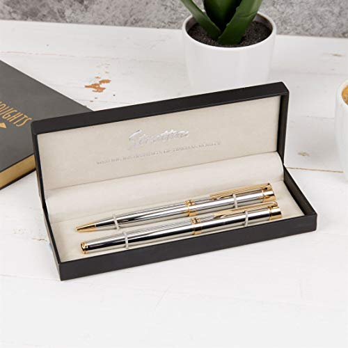 Stratton of Mayfair Roller Ball & Biro Pen Set Silver and Gold