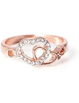 """Ring Modeschmuck """"Herzen"""" Farbe: Rosegold Ringgröße 53"""