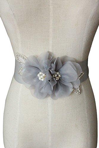Lemandy Hecho a mano flores de organza cinturones/lazos para boda vestidos A5 beige plata Talla única