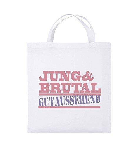 Comedy Bags - Jung & brutal gutaussehend - Jutebeutel - kurze Henkel - 38x42cm - Farbe: Schwarz / Weiss-Neongrün Weiss / Rosa-Violet