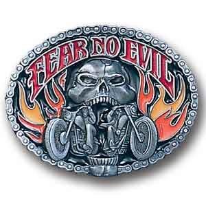 Belt Buckle Fear No Evil Skull/Motorcycle