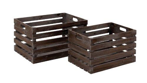 PLUTOS (Mythologie) Marken Stil Holz Wein Kiste aus massivem Holz, Set von 2