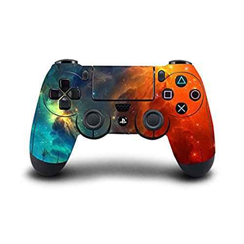 Stillshine PS4 Skin Vinyle autocollant Sticker Decal de Protection pour Sony Playstation 4 PS4 Slim PS4 Pro Dualshock Manette x 1 (Starry Blue-Orange)