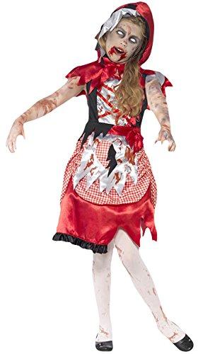 Girl Karneval Halloween Kostüm Zombie Rotkäppchen, Mehrfarbig, Größe 122-134, 7-9 Jahre (Zombie Halloween-mädchen)