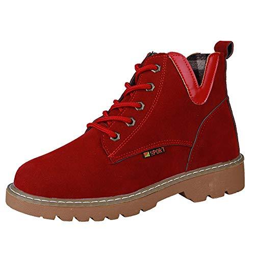 OSYARD Femmes Bottes de Neige Automne Hiver Bottines Chaussures Bottines Plates Chaussures Low Wedge Buckle Biker Cheville Garniture(Rouge,39 EU)