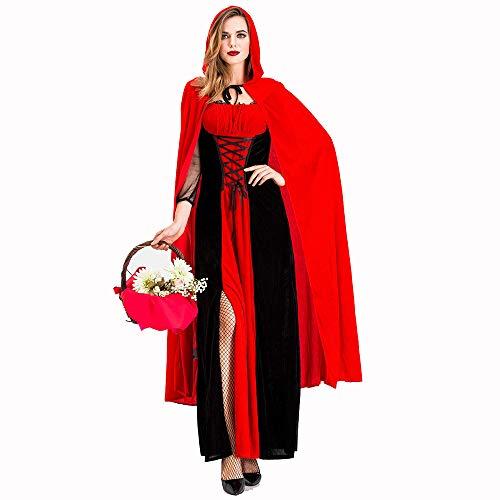 HJG Rotkäppchen Cape Kostümparty Fee Kostüm für Erwachsene Damen Women Halloween Cosplay mit - Lady Fee Kostüm