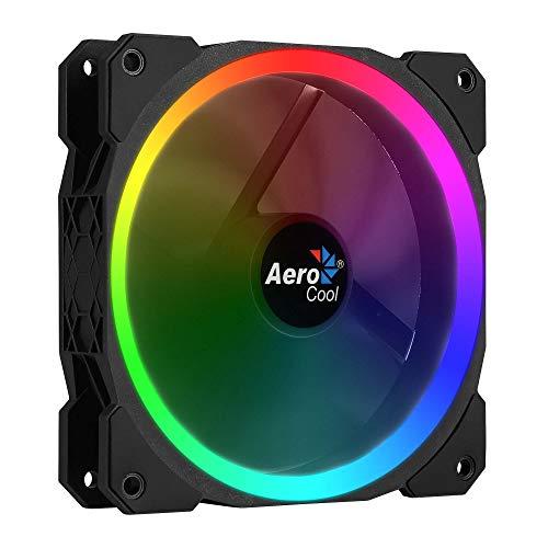Aerocool Orbit - PC-Lüfter mit RGB-Beleuchtung (12 cm, gebogene Lamellen, Dual Ring LED 11 Effekte, 14 DBA), Farbe Schwarz