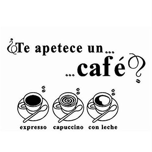 Mbambm Kreative Küche Wand Fenster Dekoration Te Apetece Un Cafe Spanische Sprache Vinyl Wandtattoos Aufkleber Für Esszimmer 24 * 60 Cm