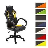 CLP Silla Gaming/Silla de oficina SPEED, asiento de LUJO ajustable en altura con un revestimiento de cuero sintético amarillo