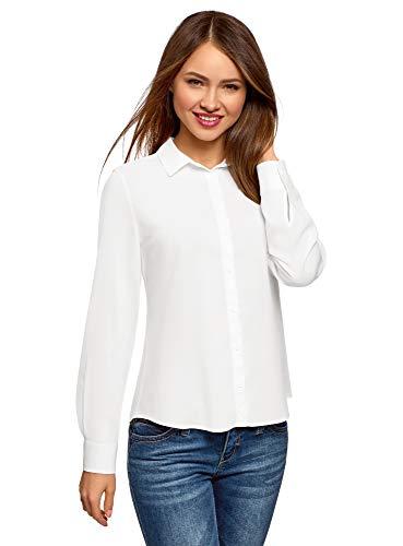 oodji Ultra Damen Viskose-Bluse Basic, Weiß, DE 38 / EU 40 / M