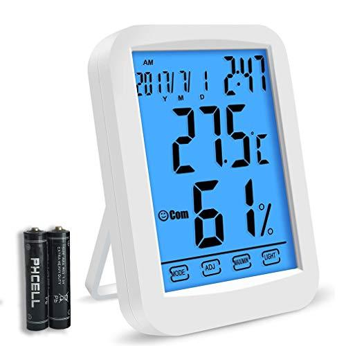 iPer Thermometer Hygrometer innen digital Temperatur Luftfeuchtigkeit Raumthermometer Monitor mit Hintergrundbeleuchtung, Wecker, Datum Uhrzeit Anzeige, Max/Min Aufzeichnung und Touchscreen