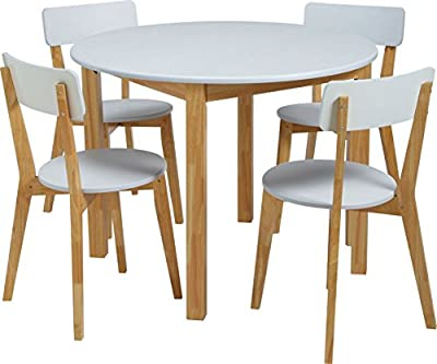 (UK Stock)CRAVOG Wood Kitchen Dining Table Set and 4 Chair White produced by CRAVOG - quick delivery from UK.