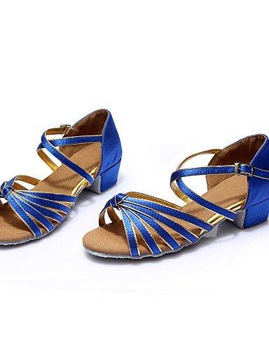 ShangYi Chaussures de danse ( Noir / Bleu / Marron / Rouge / Argent / Or / Léopard / Autre ) - Non Personnalisables - Talon Plat -Satin / Black