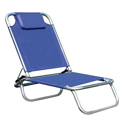 Papillon Chaise longue en aluminium avec coussin et serviette en textilène bleu