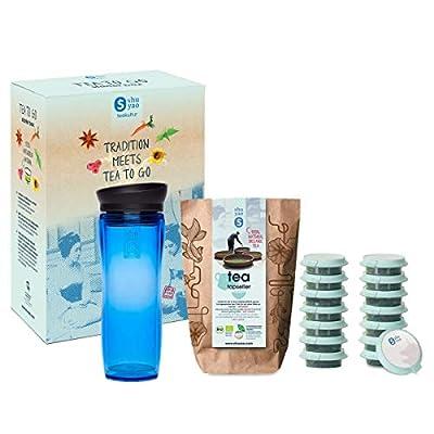 Shuyao Tea to Go Théière avec infuseur intégré + 5 x 3 Loser Bio Thé avec caféine Bleu 45 g