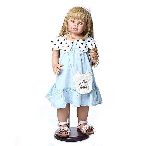 Binxing Toys Impermeable muñecos Reborn Reales 28 Pulgadas 70cm Toddler Reborn niña con los Ojos Abiertos Oro Pelo Largo