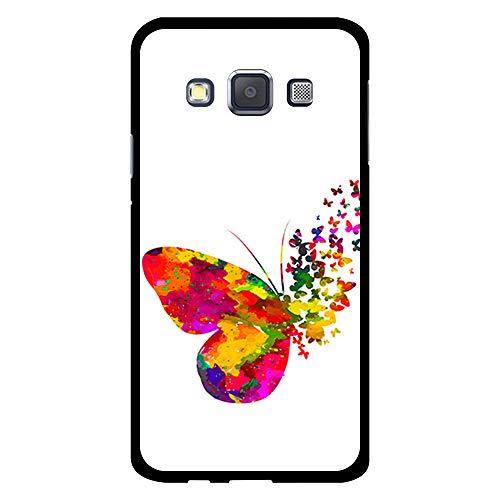 BJJ SHOP Schwarz Hülle für [ Samsung Galaxy A3 2015 ], Klar Flexible Silikonhülle, Design: Abstrakter mehrfarbiger Schmetterling