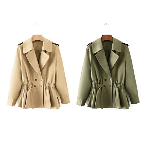 Babysbreath Women Jackets Casual Elastic Waist Double Breasted Turn Down Collar Short Trench Autumn Coats