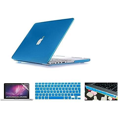 i-Buy Caso de Shell duro + cubierta del teclado + Protector de pantalla + enchufe del polvo para Apple Macbook Pro 15 pulgadas con Retina Display(Modelo A1398)- Metalescent azul