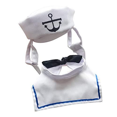 HVTKL Neue Haustierkleidung Bekleidung Hund Katze Hut Matrosenanzug Marine Anzug Segelanzug Mantel HVTKL (Color : White, Size : Uniform size adjustable) -