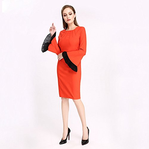 WanYang Donna Vintage Vestito Donna Manica Lunga Collo Casual Abito Vestiti per Autunno Inverno Arancia