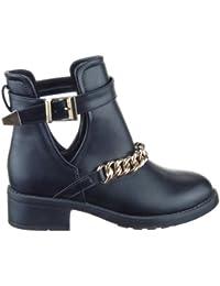 Sopily - Zapatillas de Moda Botines Low Boots Low boots A medio muslo mujer Cadena Talón Tacón ancho 4 CM - Negro