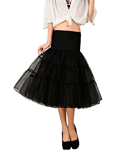 Noriviiq Damen Petticoat Unterrock 1950's Tüll Tutu Rock Kurz Retro Rockabilly Tanzkleid Underskirt Crinoline XXL Schwarz