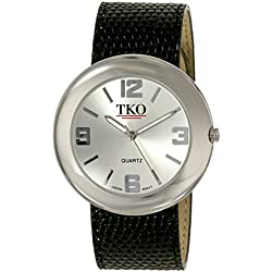 TKO ORLOGI Women's TK616-SBK Leather Slap Silver Black Watch
